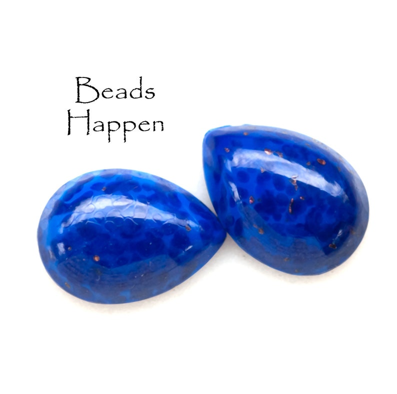 Vintage 18x13mm Lapis Lazuli Artisan Glass Pear Cabochons Cabs from Czechoslovakia Dark Blue Pears 18x13 Pears Denim Dr8-4-1-2 Qty 2