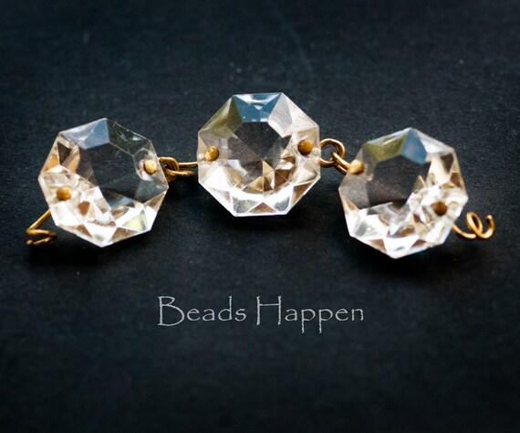 50 Metallic Aquamarine Aqua Octagon Chandelier Crystal Beads Octagons