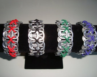 Pop Tab Bracelet Recycled Aluminum Soda Pop Can Top Pull Tabs