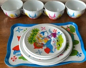 Vintage Ohio Art Little Red Riding Hood Tin Litho Tea Set with Teacups, Plates and Tray