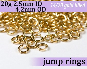 20g 2.5 mm ID 4.2mm OD gold filled jump rings -- 20g2.50 goldfill jumprings 14k goldfilled