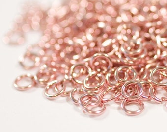 22g 4.0 mm ID 5.3mm OD rose gold filled jump rings -- 22g4.00 pink goldfill jumprings 14k goldfilled