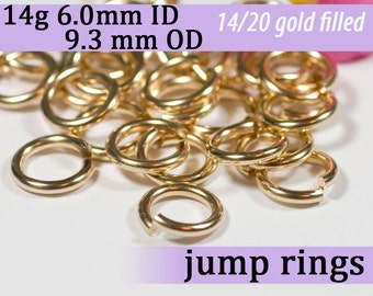 14g 6.0 mm ID 9.3mm OD gold filled jump rings -- goldfill 14g6.00 jumprings 14k goldfilled