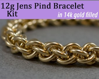 THICK 12g Jens Pind Bracelet Chainmaille Kit in 14K Gold Fill