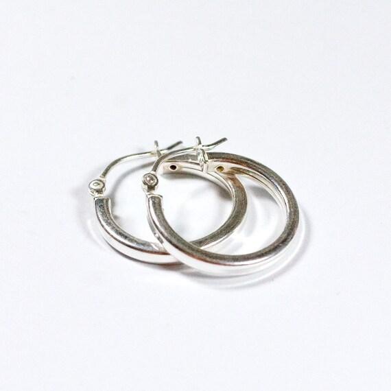 Les carré boucles d'oreilles créoles argent tube carré Les 4216a3