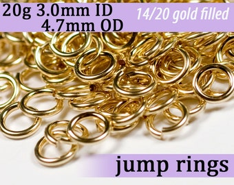 20g 3.0 mm ID 4.7mm OD gold filled jump rings -- 20g3.00 goldfill jumprings 14k goldfilled