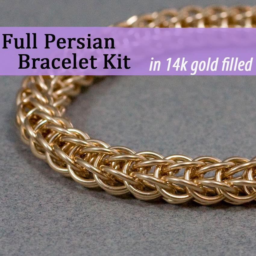 Kit Kit Kit Bracelet Chainmaille plein persan en or 14k Gold Filled f18049