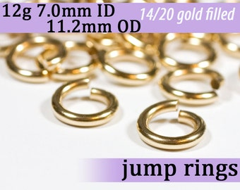 12g 7.0 mm ID 11.2mm OD gold filled jump rings -- 12g7.00 goldfill jumprings 14k goldfilled