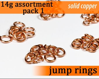 35 pcs 14g copper sampler pack 1 jump rings 14 gauge 14gsamp1 solid copper jewelry rings findings