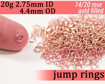 20g 2.75 mm ID 4.4mm OD rose gold filled jump rings -- 20g2.75 pink goldfill jumprings 14k goldfilled
