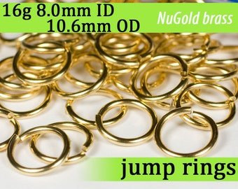 16g 8.0 mm ID 10.6 mm OD NuGold brass jump rings -- 16g8.00 open jumprings links