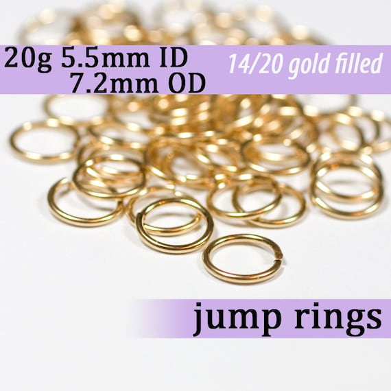 Pack of 5 Twisted Gold Filled Open Jump Rings 0.8mm wire, approx. AWG 20