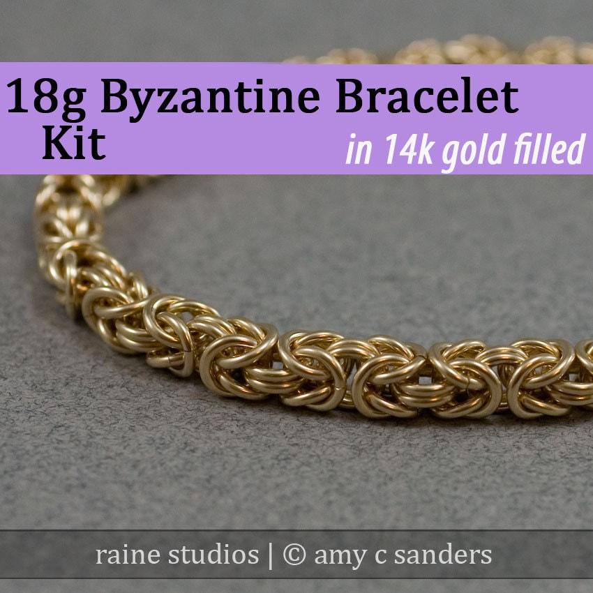 18g 18g 18g Bracelet byzantin Chainmaille Kit de remplissage de l'or e7e4d3