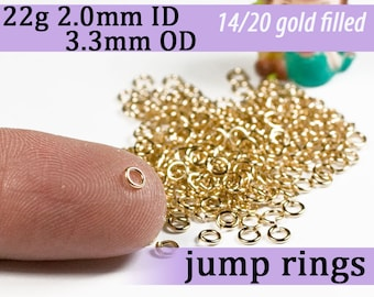 22g 2.0 mm ID 3.3mm OD gold filled jump rings -- 22g2.00 goldfill jumprings 14k goldfilled