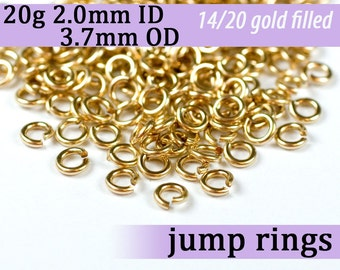 20g 2.0 mm ID 3.7mm OD gold filled jump rings -- 20g2.00 goldfill jumprings 14k goldfilled