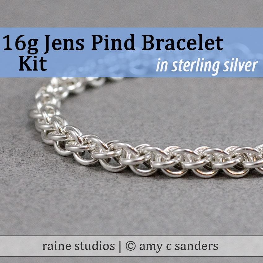 16g Kit Chainmaille Chainmaille Chainmaille Jens Pind Bracelet en argent Sterling c6f479