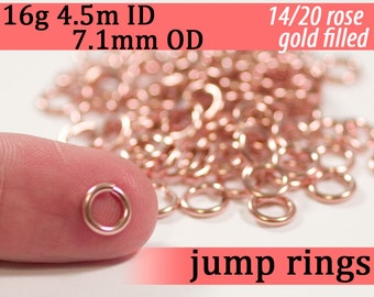 16g 4.5 mm ID  7.1mm OD rose gold filled jump rings -- 14k pink goldfill jumprings 16g4.50  chainmaille rings