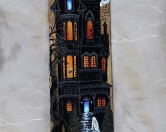 "Spectre Manor, haunted Halloween house, Ozark's barnwood, hand painted art, 5 3/4"" x 23 1/2"""