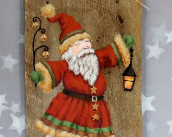 "Santa on Ice, St. Nick, hand painted on Ozarks barnwood, original art, 7 1/2"" x 12"""