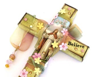 Decoupaged Wall Cross Decorated Crucifix Jesus Holy Card Catholic Art Christian Art Mixed Media Religious Gift Easter Gift Light Green Pink