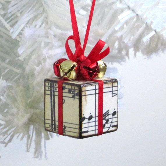 Small Christmas Tree Ornament Red Sheet Music Christmas Etsy