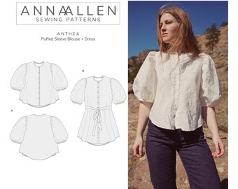 Anthea Blouse + Dress - PDF Sewing Pattern Sizes 00-22