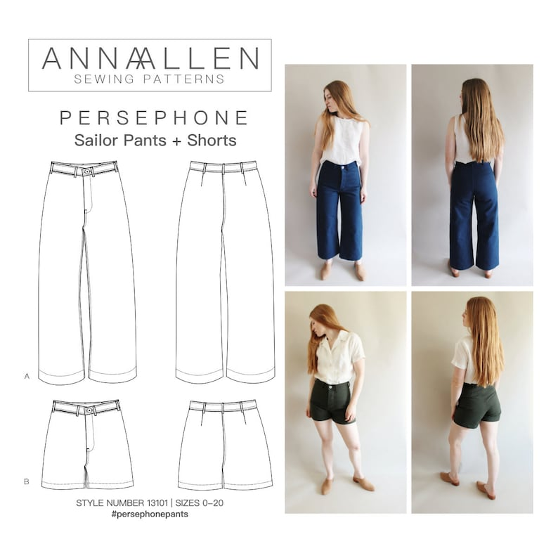 e32808227b1de Persephone Pants and Shorts PDF Sewing Pattern Sizes 0-20
