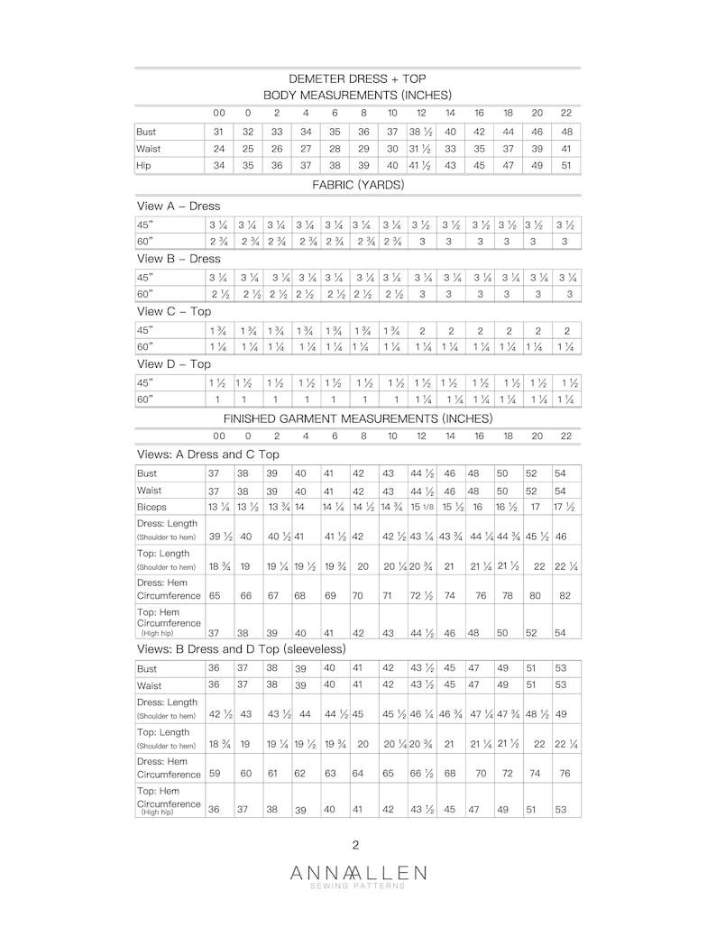Demeter Dress  Top  PDF Sewing Pattern Sizes 00-22 image 1