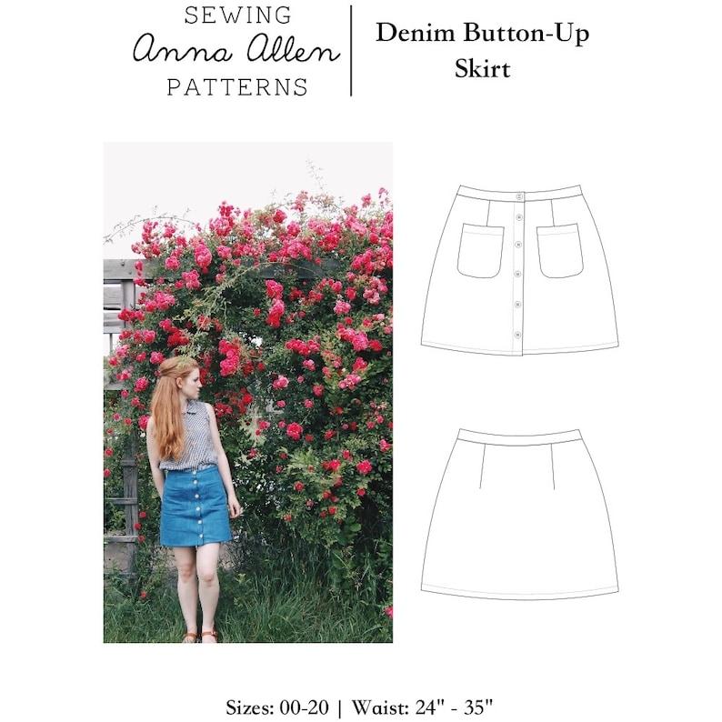 Denim Button Up Skirt  PDF Womens Sewing Pattern Sizes 00-20 image 0
