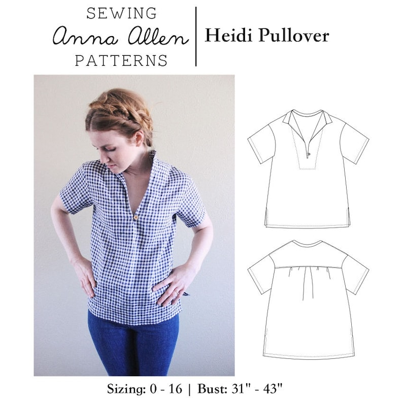 Heidi Pullover Top / Sizes 0-16 / PDF Womens Sewing Pattern image 0