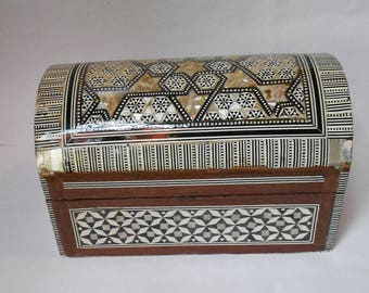 A lovely Vintage inlaid Domed Jewlery Chest from the Middle East.