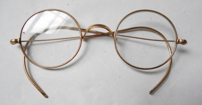 e48489a8c91 SOLID 10K Gold Antique Wire Rim John Lennon-Windsor Style Eye
