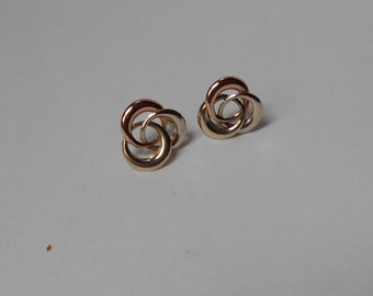Vintage 10K GOLD entwined Circles Earrings