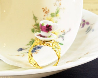Floral Teacup Ring - Tea Party Ring - Tea Party Favour - Adjustable Ring