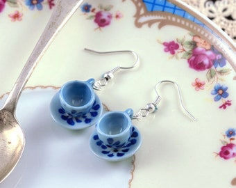 Blue and White Teacup Earrings - Teacup Favours - Gift for Tea Drinker