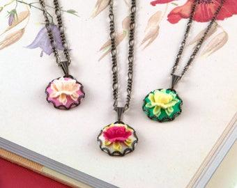 Rose Cameo Necklace - Vintage Inspired Flower Cameo Necklace - Rose Cameo Pendant