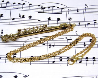 Flute Necklace in Case - Gold Flute Jewellery - Flute Gift - Music Jewellery