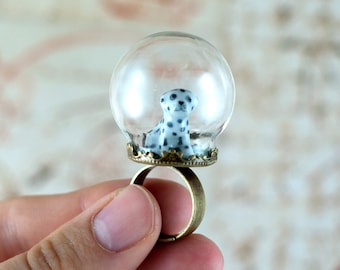 Dalmatian Ring - Glass Globe Ring - Dog Lover Gift - Dog Jewellery for People