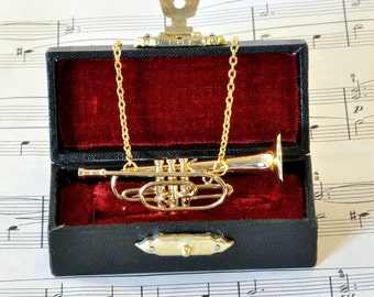 Cornet Necklace in Case - Music Necklace - Cornet Jewellery