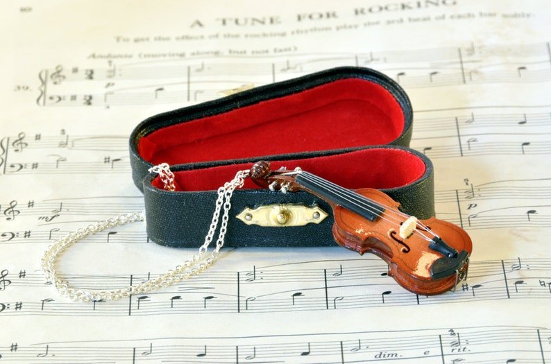 Violin Necklace in Case  Violin Gift  Music Jewellery  image 0
