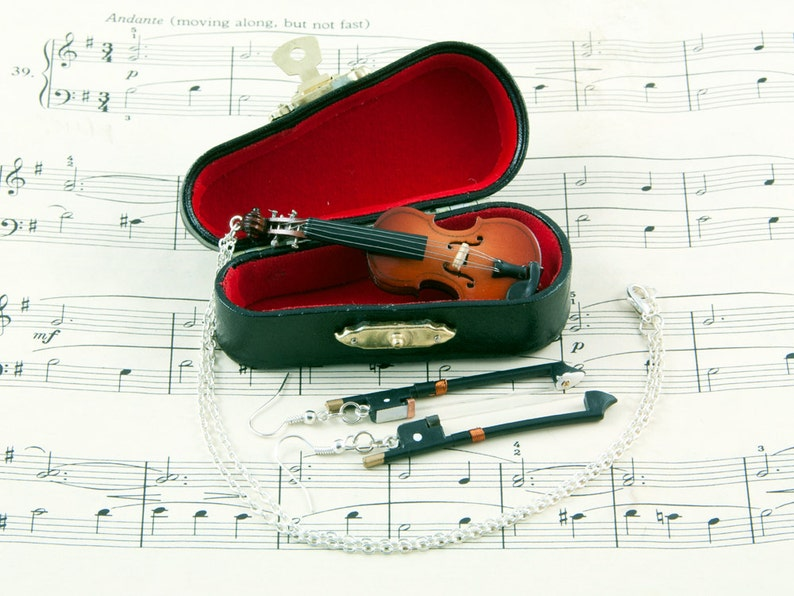 Violin Necklace and Bow Earrings Gift Set in Case  Violin image 0