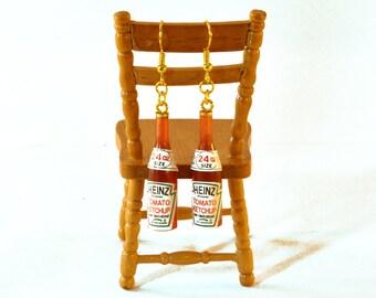 Ketchup Bottle Earrings - Miniature Jewellery - Tomato Sauce Earrings
