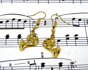 French Horn Earrings - Music Jewellery - French Horn Gift - Gift for Music Teacher