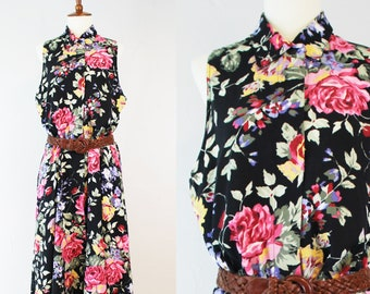 Vintage 90s Dress Floral Black Cotton // Womens L Large // Button Up Carol Anderson // Sleeveless Print Flowers // Collared Pockets Summer