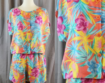 c11fd70a Vintage 90s Tropical Set Shorts Shirt // Womens S Small // Young Concepts  // Hawaiian Resort Crop Top // Floral Print Pattern Retro Spring