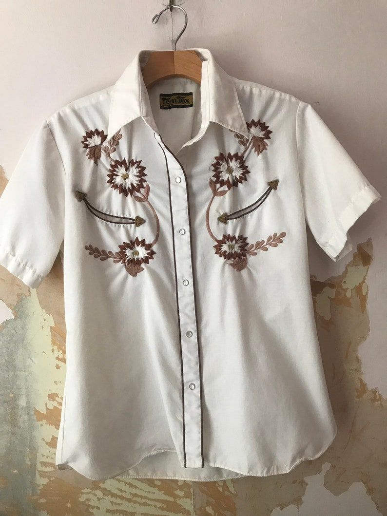 possibly 80/'s Tem Tex brand womens/'s embroidered western snap-button shirt rare short sleeve Vintage 70/'s