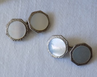 Vintage Cufflinks Lot of 17 Pairs Cuff Links double sided Mother of Pearl Plastic Novelty Metal Fabric Rhinestones