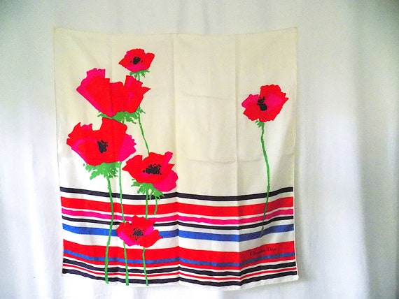 Christian DIOR Silk Scarf Large Carre with Red Pop