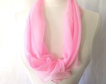 Vintage Silk Chiffon Scarf in Pink Hand Rolled & Sewn