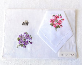 Vintage Handkerchief Pair with Embroidered Violets in Original Package from Germany